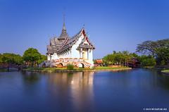 Temple III (M. Ali Changezi) Tags: longexposure landscape thailand temple march outdoor dusk bluehour 12 goldenhour 2016 samutprakan ancientcity march2016