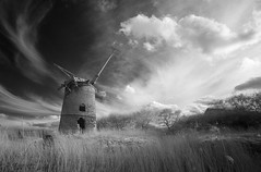 Brograve Mill 16/04/2016 (Matthew Dartford) Tags: england bw cloud overgrown windmill grass architecture landscape ir bokeh farming norfolk infrared derelict watermill eastanglia infraredphotography brograve towerwindmill