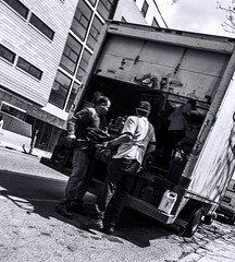 Milwaukee Ave. Street pic 23 4-25-2016 (Artemortifica) Tags: street bridge sky chicago cars clouds buildings construction blueline crane bikes graffity milwaukee western trucks damen