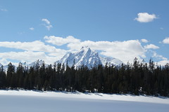 Mountains behind a frozen lake 8 (Aggiewelshes) Tags: travel winter snow mountains landscape scenery april snowshoeing wyoming jacksonhole colterbay frozenlake grandtetonnationalpark 2016 gtnp