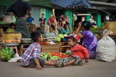 Kids Playing at a Train Station in Myanmar (Nicholas Olesen Photography) Tags: travel people playing tourism vegetables station shop horizontal fruit kids train trekking children town nikon waiting village child outdoor hiking burma platform stall myanmar kalaw d90