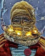 MummyNaut (sharon'soutlook) Tags: portrait woman colors lights costume experimental cosplay astronaut comicbook mummy bandages 2015 spacemummy lindseywhittle cincinnaticomicexpo mummynaut