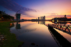 Putrajaya Water Recreation (KembaraAlam) Tags: travel bridge lake seascape architecture sunrise canon landscape photography dawn scenery cityscape tranquility serenity malaysia putrajaya discovery photohunt discover phototravel singhray leefilter discovermalaysia tamanrekreasiair kembaraalam malaysiaexplorer
