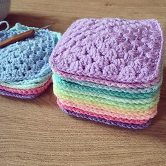 A lovely little stack of granny's... (Strawberry Latte) Tags: crochet craft crocheting crochetblanket crochetaddict uploaded:by=flickstagram craftsposure instagram:photo=1200061519644425810391400350