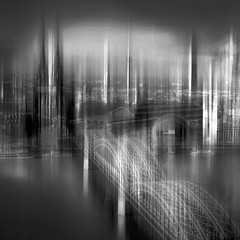 Cologne (lance mills) Tags: bridge blackandwhite bw white black water monochrome river germany mono spires cologne