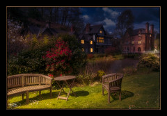 Take a Seat (A Digital Artist) Tags: england reflection building water beautiful architecture clouds landscape pond village waterfront cheshire northwest serene tranquil scenics lymm canon1855mm kevinwalker canon1100d