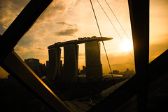 Marina Bay Sands (suanhin) Tags: sunset building lines silhouette architecture skyscraper hotel singapore frame atrium marinabay marinabaysands