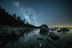 Lake Tahoe's Bonsai Rock & Milky Way (Beau Rogers) Tags: blue water night nevada tahoe laketahoe astrophotography sierranevada milkyway nighttimephotography bonsairock nighttimeinnevada