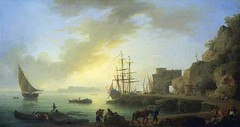 Claude-Joseph Vernet - private collection. Mediterranean Port at Dawn (c.1750) (lack of imagination) Tags: people seascape animals boats harbor blog ship privatecollection claudejosephvernet 7001000