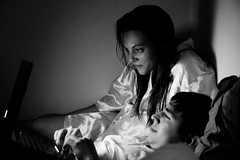 """Let us watch a movie together."" (catarinae) Tags: ireland portrait bw dublin woman white man black movie us bed bedroom italian laptop watch young double together lying let venezuelan"