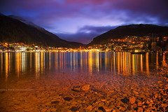 Queenstown Nightfall || QUEENSTOWN || NZ (rhyspope) Tags: new city mountain lake pope color colour reflection night canon island lights long exposure south zealand nz southisland queenstown 5d wakatipu rhys mkii rhyspope