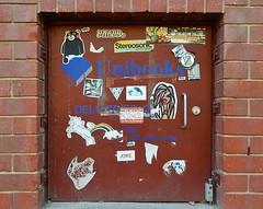 Assorted Stickers (mikecogh) Tags: bear door rainbow stickerart stickers adelaide cbd cupboard adelaideuniversity