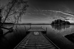 Monowide (jarnasen) Tags: morning winter blackandwhite bw copyright lake snow cold ice water monochrome sunrise landscape island dawn mono wooden nikon frost conversion distorted noiretblanc sweden outdoor jetty tripod wide paisaje fisheye nordic sverige bent scandinavia 8mm hdr landskap svartvit stergtland vrdns 5exposures d7100 samyang8mmf35 jrnsen wwwfacebookcomjarnasenphotography