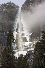 Upper Yosemite Falls (San Francisco Gal) Tags: winter cliff mist snow ice yosemitefalls water waterfall yosemitenationalpark upperyosemitefalls