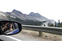 Heading to Sunwapta Pass (AmandaMT) Tags: trip mountain canada water beauty nationalpark jasper skies vibrant pass august rearviewmirror alberta banff wilderness mountains road trip sunwapta parkway august rocky sunwaptapass icefields 2015