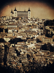 View of Toledo (Colormaniac too (Back & SLOWLY catching up)) Tags: city heritage landscape la blackwhite spain cityscape monotone el unesco collection textures toledo alcazar nik filters cultures greco flypaper manchacastille