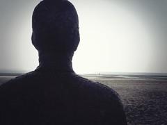Crosby 1 (stevenscoullar) Tags: shadow sea blackandwhite beach statue grey figure crosby