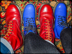 Blue and Red Dr Martens. (CWhatPhotos) Tags: pictures above camera blue red woman man color colour male colors leather yellow female that photography boot cool colours foto looking hole image boots artistic pics 10 dr picture 8 down pic olympus images have photographs together photograph footwear fotos stitching doc tough marten which dm docs contain airwair martens patent dms oxblood 1460 1490 tg4 cwhatphotos