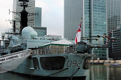 Saying farewell (marius bekker) Tags: london helicopter xz731 hmsliverpool royalnavy westlandlynxhma8 canarywharf d92