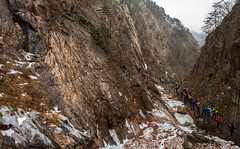 Suspension Bridge (Skagos26) Tags: park winter mountain snow ice water rain weather fog frozen nikon rocks asia cloudy foggy korea rainy southkorea seoraksan fiver seoraksannationalpark d7100 1024mm