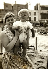 Hilary Wright (nee Holeman) -  (1936 - 2019) (The Wright Archive) Tags: hilary wright baby child paul margate beach september 1961 sixties 1960s 60s black white sand holiday vintage fashion kent england uk wrightarchive hilaryholeman people summer paulwright