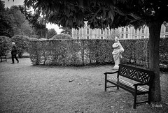 the bench (Jack_from_Paris) Tags: street leica bw tree statue plante garden bench photo angle noiretblanc wide rangefinder m type monochrom capture chateau mode arbre parc banc cheverny 240 passant lightroom dng 11606 10770 nx2 tlmtrique leicaelmaritm28mmf28asph l1004783bw