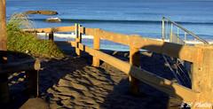 Fence By The Sand (morrisoneoin) Tags: sea west beach fence blacksand coast sand gate surf shadows wave posts westcoast fenceline wetsand portwaikato