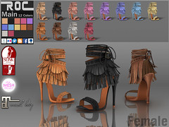 ::ROC:: Sabrina Heels (ROC FASHION) Tags: red woman white black hot rome sexy girl up leather shop female nude roc back high cool shoes punk pumps toe lace platform khaki sl lara secondlife footwear sling heel peep stiletto ankle bohemia suede tassel rigged tmp fitted maitreya slink fatpack roscee