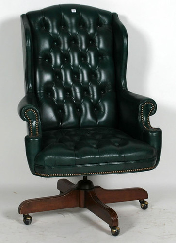Green Leather Office Chair - $154.00 (Sold February 5, 2016 @ Green Valley Auctions