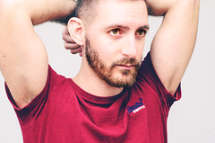 (Damien Cox) Tags: uk portrait selfportrait man male me face self ego myself beard eyes nikon arms masculine moi autorretrato scruff stubble superdry redtshirt i damiencox damiencoxcouk