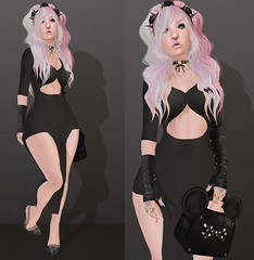 Post #1688 ( =^^=) Tags: pink black fashion rose silver hair bag gold necklace blog shoes punk lashes dress mesh streak teeth emo goth makeup piercing ombre ring rings gloves secondlife bow spike jewelery hud choker headband prim applier pinkatude sashakittehwildrose