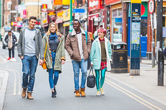 Brick Lane (William Perugini) Tags: street city uk travel winter friends vacation portrait england people male men london tourism smile smiling female fun happy four women couple friendship group sightseeing young lifestyle happiness tourist together blonde embracing
