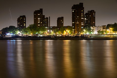 A Storm's Coming (Torsten Reimer) Tags: uk trees houses england sky london water thames night reflections river boats europa europe nacht unitedkingdom himmel gb lowtide lightning blitz fluss battersea towerblock themse reflektionen worldsendestate