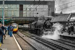New meets old (chaotic river) Tags: england train unitedkingdom steam gb locomotive carlisle 46233