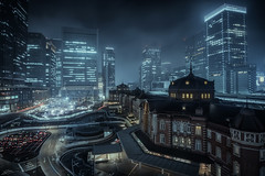 Tokyo Station (ScottSimPhotography) Tags: city travel station japan night buildings dark asian photography japanese lights tokyo evening asia downtown neon noir cityscape nightscape bladerunner sony centre famous sightseeing center visit location scifi late marunouchi neonoir a6000