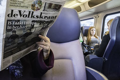 Terror News (Rense Haveman) Tags: street brussels news train is newspaper hand arnhem redhead terror terrorism isis journalism rensehaveman fujix100t
