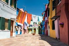 Laundry in Burano (Mike Nbg) Tags: travel italien blue venice sky italy tourism colors contrast colorful europe bluesky tourist historic laundry venezia venedig venetia burano coloredhouses veneto