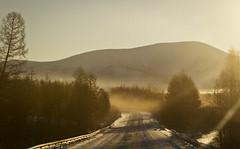 Scenic Route (galushchak) Tags: travel winter sun nature fog sunrise landscape frost russia roadtrip february fareast kolyma 2016 magadan galushchak kolymar