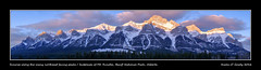 Sunrise along the many northeast facing peaks / buttresses of Mt. Rundle, Banff National Park, Alberta (kgogrady) Tags: trees panorama mountain snow canada clouds sunrise landscape spring pano noone ab nopeople alberta banff fujifilm peaks fujinon mountrundle banffnationalpark parkscanada mtrundle canadianrockies buttresses 2016 westerncanada canadianmountains xe1 canadiannationalparks canadianlandscapes cans2s albertalandscapes fujifilmxe1 xf55200mmf3548ois picturesofalberta photosofalberta photosofbanffnationalpark picturesofbanffnationalpark canadianrockieslanscape picturesofmtrundle photosofmtrundle northeastfacing