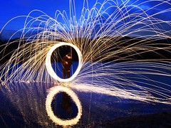 Wire Wool Spinning (ianperkins11) Tags: longexposure light lightpainting reflection river paintingwithlight sparks wirewool wirewoolspinning