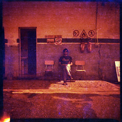 Redscale Filippo (Giorgio Verdiani) Tags: door signs man muro 120 6x6 film wall mediumformat lomography chair sitting uomo porta panels sedia filippo fuel 100asa warningsign cartelli insegne rollfilm 100iso pellicola felica carburante seduto vredeborch metano rullo redscale metan medioformat cartellipericolo