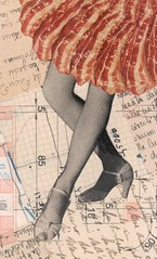 bacon skirt (kurberry) Tags: collage bacon dancing legs manuscript cutpaste cutandpaste vintageephemera