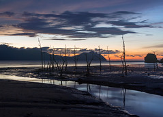 After Sunset at Bako (Rob Kroenert) Tags: park blue trees sunset clouds river landscape dead boat asia long exposure dusk jetty tide low national sarawak malaysia borneo southeast malaysian bako bakonationalpark