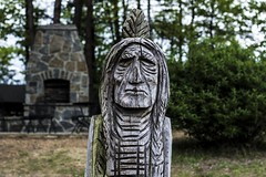 Wooden (Chris B Richmond) Tags: park wood monument nature canon outside wooden native outdoor indian chief alabama feather carving carve bust american engraving stump dslr wrinkle engraved wrinkled onteonta