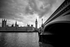 Westminster Palace & Bridge (Future-Echoes) Tags: city blackandwhite cloud london westminster river parliament landmark westminsterbridge westminsterpalace 2013