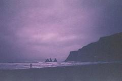 (ystein Aspelund) Tags: ocean travel sea black color film beach nature 35mm landscape iceland silouette vik expired desolate volcanic orwo