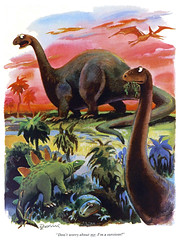 """Don't worry about me. I'm a survivor!"" (Tom Simpson) Tags: illustration vintage comics 1982 comic dinosaur playboy 1980s stegosaurus apatosaurus pterodactyl pteranodon eldondedini"