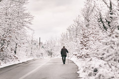 old man walking with a stick (SHOT BY ViT) Tags: road old trees mountain snow man walking solitude 85mm 15 roadtrip greece stick helios helios85mm