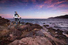 Photofinish (Studio Fused) Tags: sunset sea summer portrait sky seascape man water bicycle clouds sunrise landscape atardecer golden mar spain model retrato btt bicicleta paisaje modelo ibiza cielo hour nubes mtb bici waters eivissa formentera hombre territorial