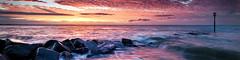 Red Dawn II (Langstone Joe) Tags: panorama seascape sunrise coast twilight haylingisland hampshire coastal solent redsky southcoast sandypoint altocumulusclouds wateryreflections